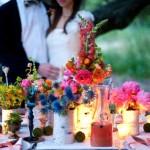 Свадебный пикник при свечах