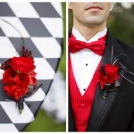 Красная свадебная бутоньерка для жениха