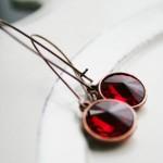 Рубиновые серьги для невесты