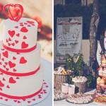 Красные сердца - самый лучший декор для свадебного торта