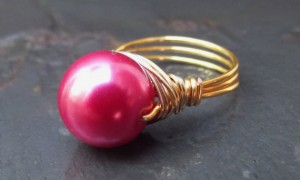 Fushia Pearl Ring Gold Wire Wrapped Ring, Hot Pink