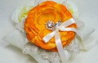 Naturally Orange Bloom on Silk Dupioni Wedding Ring Pillow