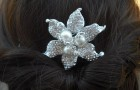 Art Deco Rhinestone flower With Pearl Hair Comb, Bridal Hair Comb