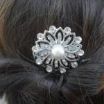 Заколка невесты с жемчугом и бриллиантами
