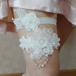 Двойная подвязка невесты с жемчугом