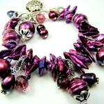 Свадебный браслет невесты пурпурно-жемчужного цвета