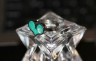 Heart Ring- Stainless Steel with Turquoise Tinted Concrete Ring and Mirrored Glass Embellishment & Crushed Glass Ring