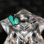 Свадебное кольцо с сердцем из голубого камня