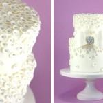 Свадебный торт с серебрянными шариками