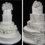 Свадебные торты, украшенные жемчужными цветами