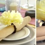 Пышный цветок на свадебной салфетке