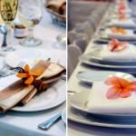 Оранжевые цветы для свадебных салфеток