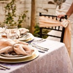 Персиковые свадебные салфетки