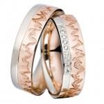 Кольца из платины и красного золота