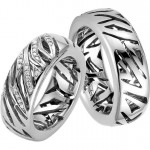 Платиновые обручальные кольца с прорезями