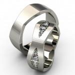 Платиновые кольца с бриллиантовыми ромбами