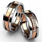 Платиновые обручальные кольца с полосой из красного золота