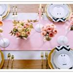 Розовая скатерть для свадебного стола