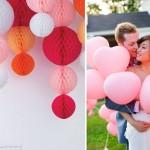 Розовые шары, бумажные или надувные