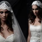 Невеста в свадебном платье с кружевной фатой