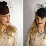 Черная шляпка невесты с красными пятнами