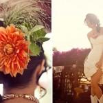 Свадебная прическа невесты с оранжевым цветком