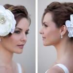 Свадебная прическа невесты с белым цветком