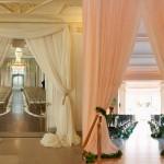 Оформление свадьбы драпировкой персикового цвета