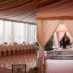Оформление свадьбы драпировкой кофейного цвета