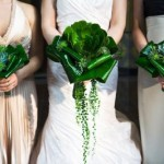 Свадебный букет невесты из массивных листьев