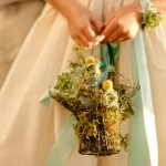 Свадебный букет невесты из корзинки с суккулентами