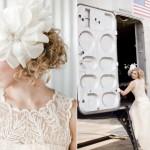 Прическа невесты в стиле винтаж с белым цветком