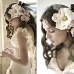 Мягкие розы в свадебной прическе