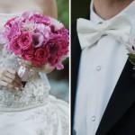 Бутоньерка и букет в розовых тонах