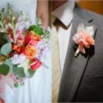 Бутоньерка и букет из оранжевых роз