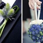 Бутоньерка и букет в голубом цвете