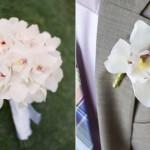 Бутоньерка и букет из светлых орхидей