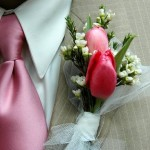 Свадебная бутоньерка из тюльпанов