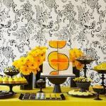 Сладкий свадебный стол в желтом цвете
