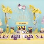 Сладкий свадебный стол в желто-голубых тонах