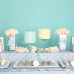 Сладкий свадебный стол в голубом цвете