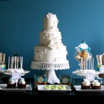 Сладкий свадебный стол в синем цвете
