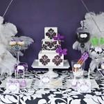 Сладкий свадебный стол в фиолетовом цвете