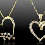 Золотые кулоны в форме сердца с бриллиантами