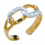 Кольцо на ногу в форме цепи с элементами белого золота