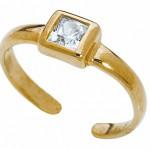 Золотое кольцо на ногу с крупным бриллиантом