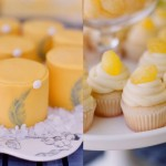 Свадебные кексы украшенные желтым кремом
