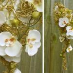 Свадебный каскадный букет из золотой проволоки