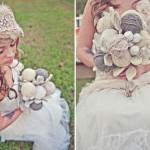 Свадебный букет из клубочков шерстяных ниток