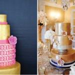 Свадебный торт с розовыми украшениями
